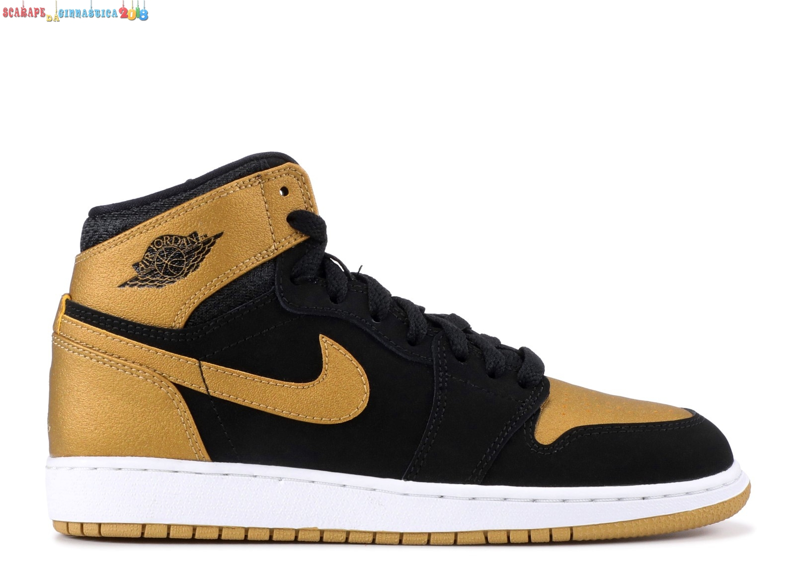 "Acquisto Air Jordan 1 Retro High Bg (Gs) ""Melo (Pe Series)"" Nero Oro (705300-026) - Scarpe da basket"