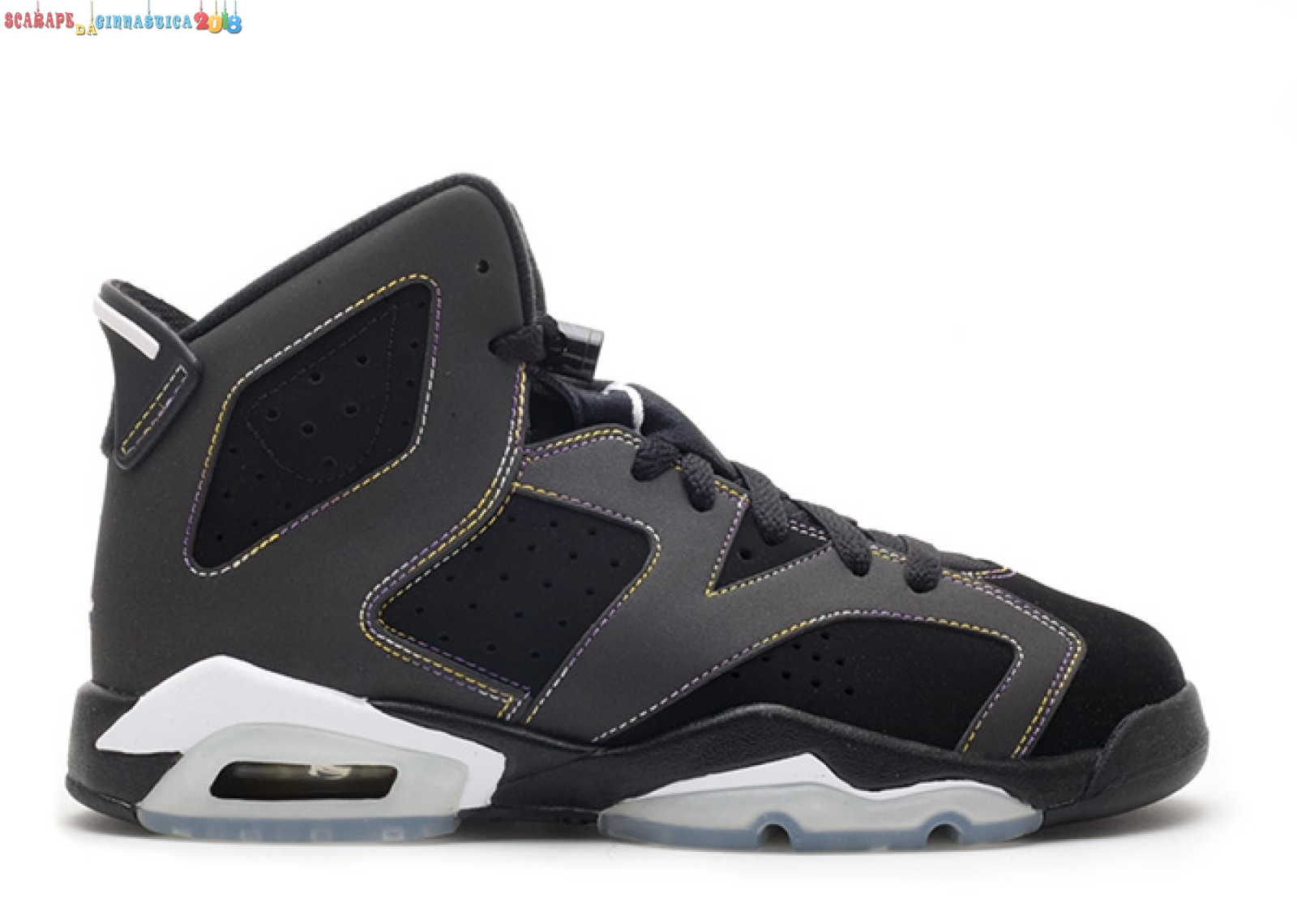 "Acquisto Air Jordan 6 Retro (Gs) ""Lakers"" Nero (384665-002) - SCARPE BASKET"