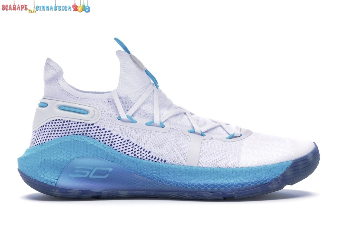 "Acquisto Under Armour Curry 6 ""Christmas In The Town"" Bianca Blu (3022386-100) - Uomo Replica"