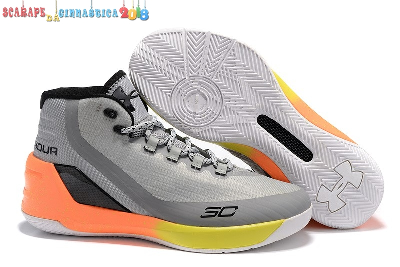Buy Under Armour Curry 3 Gris Arancia Giallo - Uomo Scarpe sportive