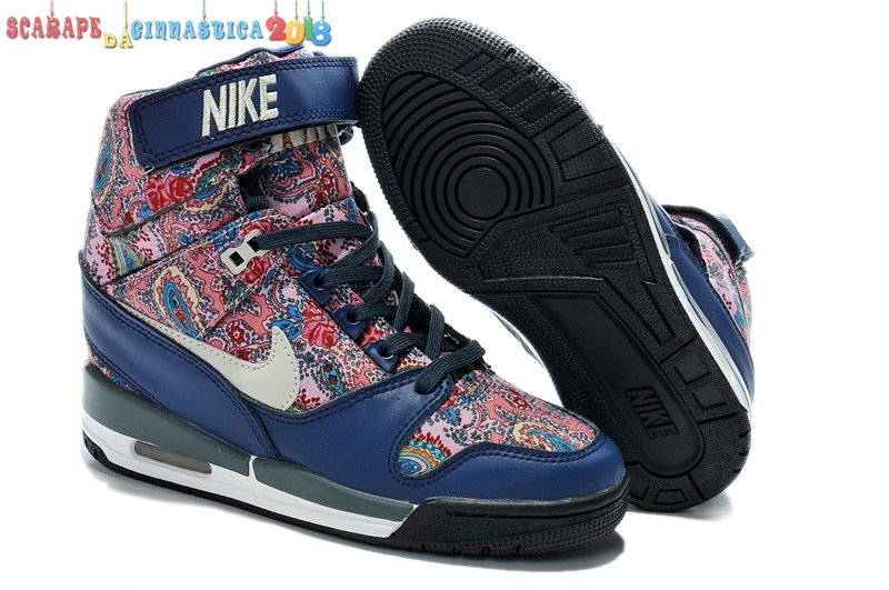 Nike Air Revolution Sky High Wedge Sneakers Blu Multicolore (599410-200) - Donna Replica