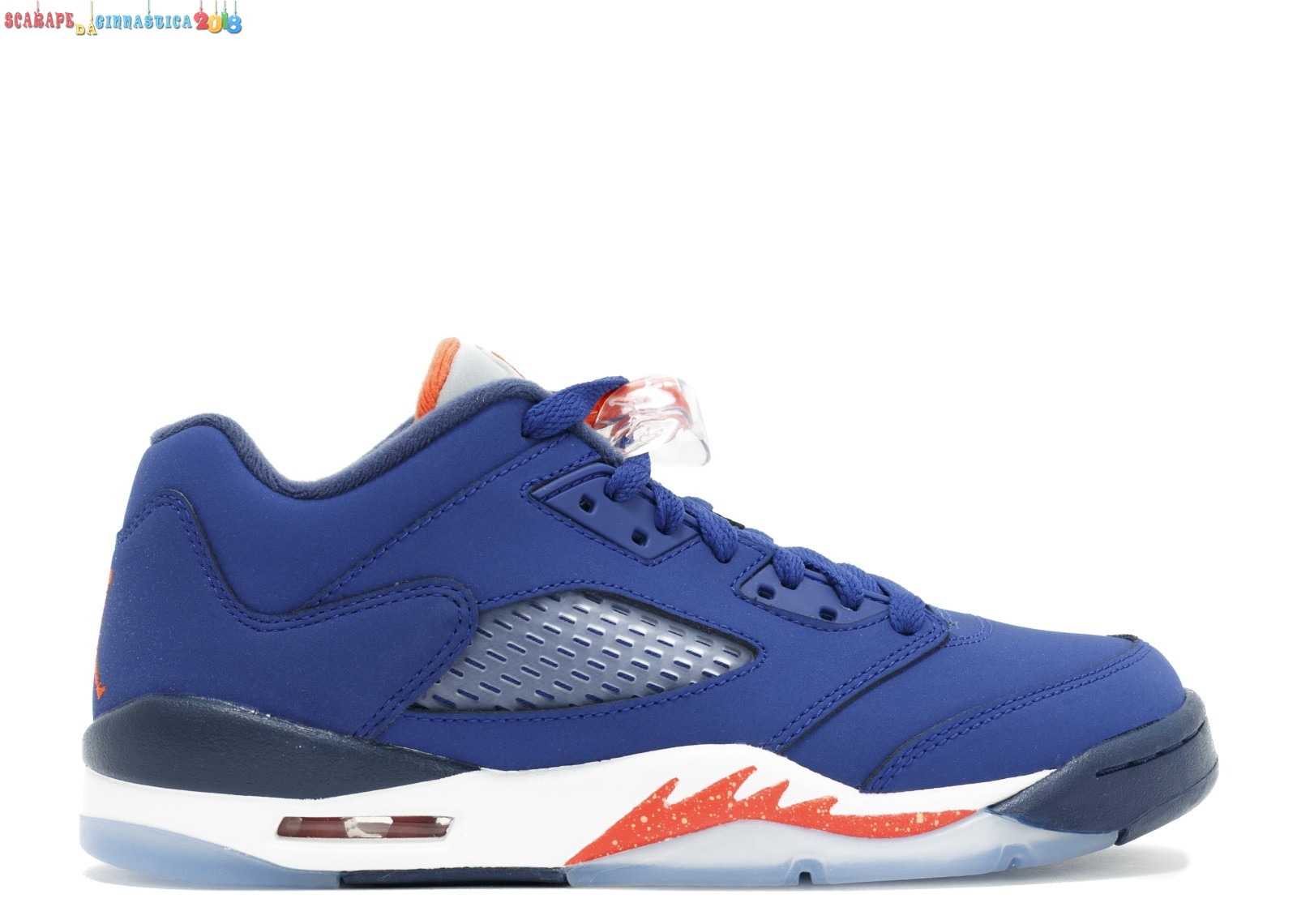 "Replica Air Jordan 5 Retro Low (Gs) ""Knicks"" Blu Arancia (314338-417) - Scarpe da basket"