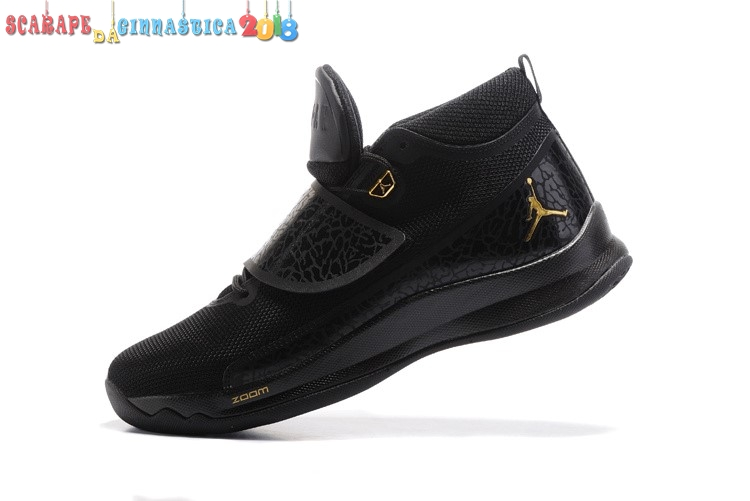 Replica Air Jordan Super.Fly 5 Po Nero Oro - Uomo - Scarpe da basket