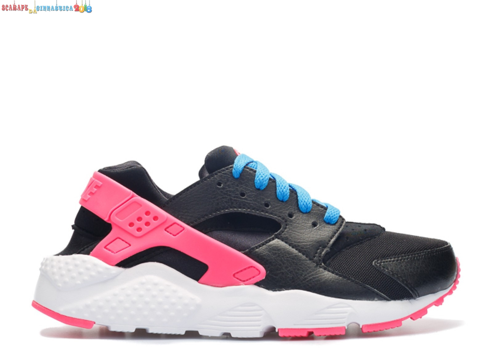 Replica Nike Air Huarache Run (Gs) Nero Rosa (654280-004) - SCARPE BASKET
