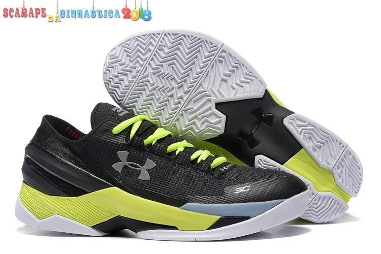 Replica Under Armour Curry 2 Low Nero Argento Volt - Uomo a Poco Prezzo