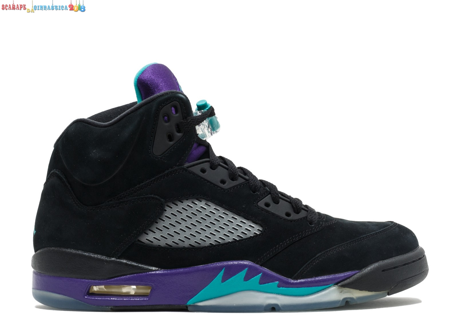 "Scarpa da basket - Air Jordan 5 Retro ""Black Grape"" Nero Porpora (136027-007) - Uomo - Scarpe da basket"