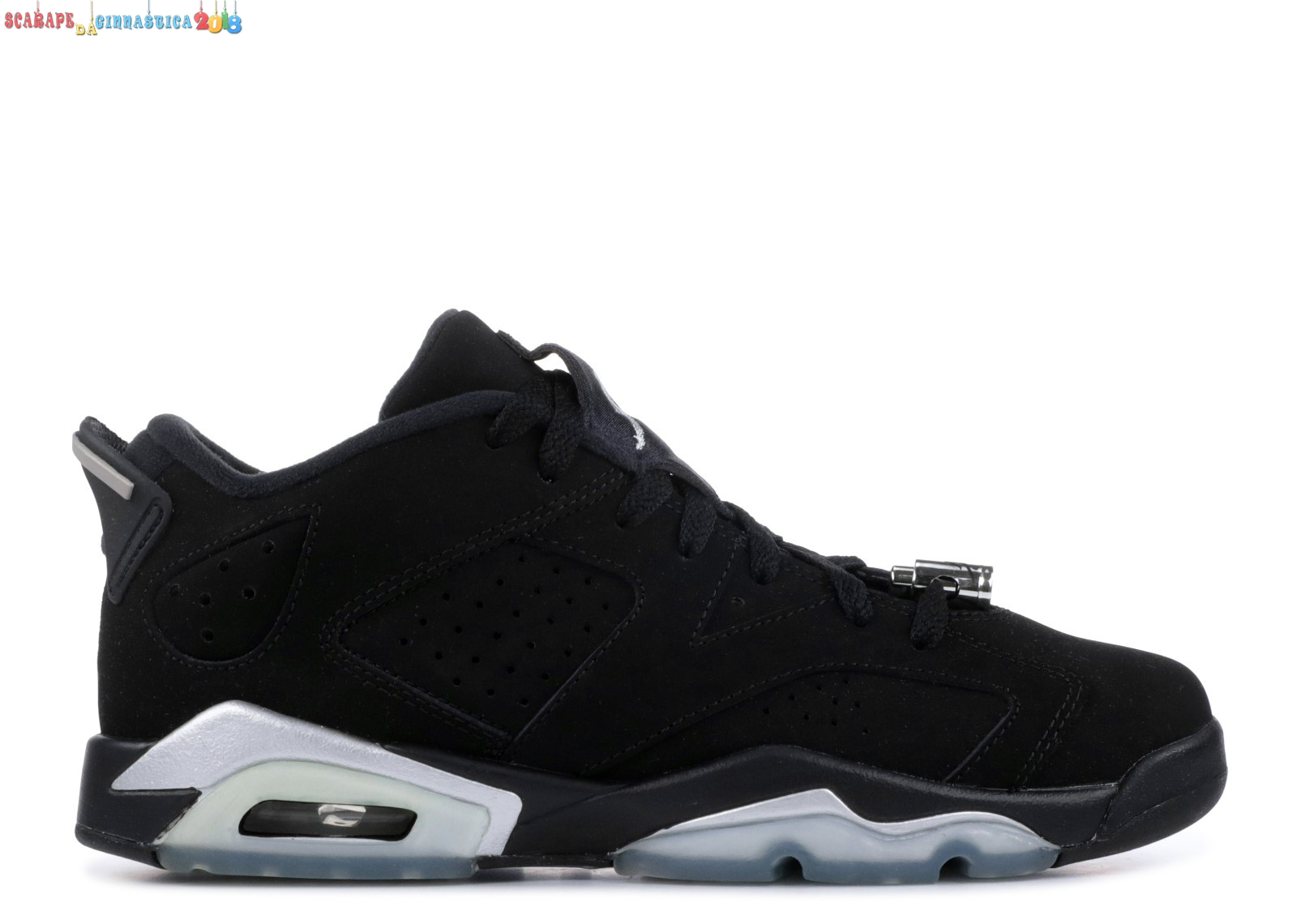 "Scarpa da basket - Air Jordan 6 Retro Low Bg (Gs) ""Chrome"" Nero Metallico Argento (768881-003) - scarpe basket migliori"