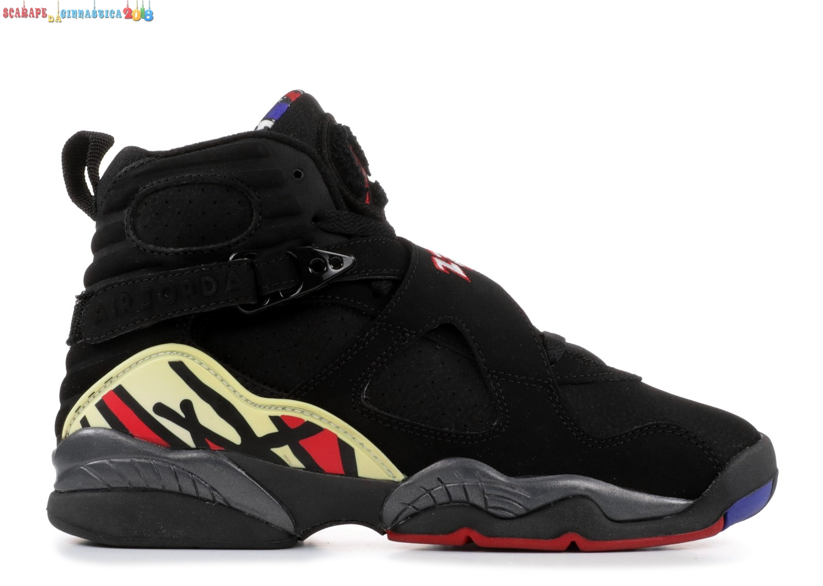 "Scarpa da basket - Air Jordan 8 Retro (Gs) ""Playoffs"" Nero Rosso (305368-061) Replica"