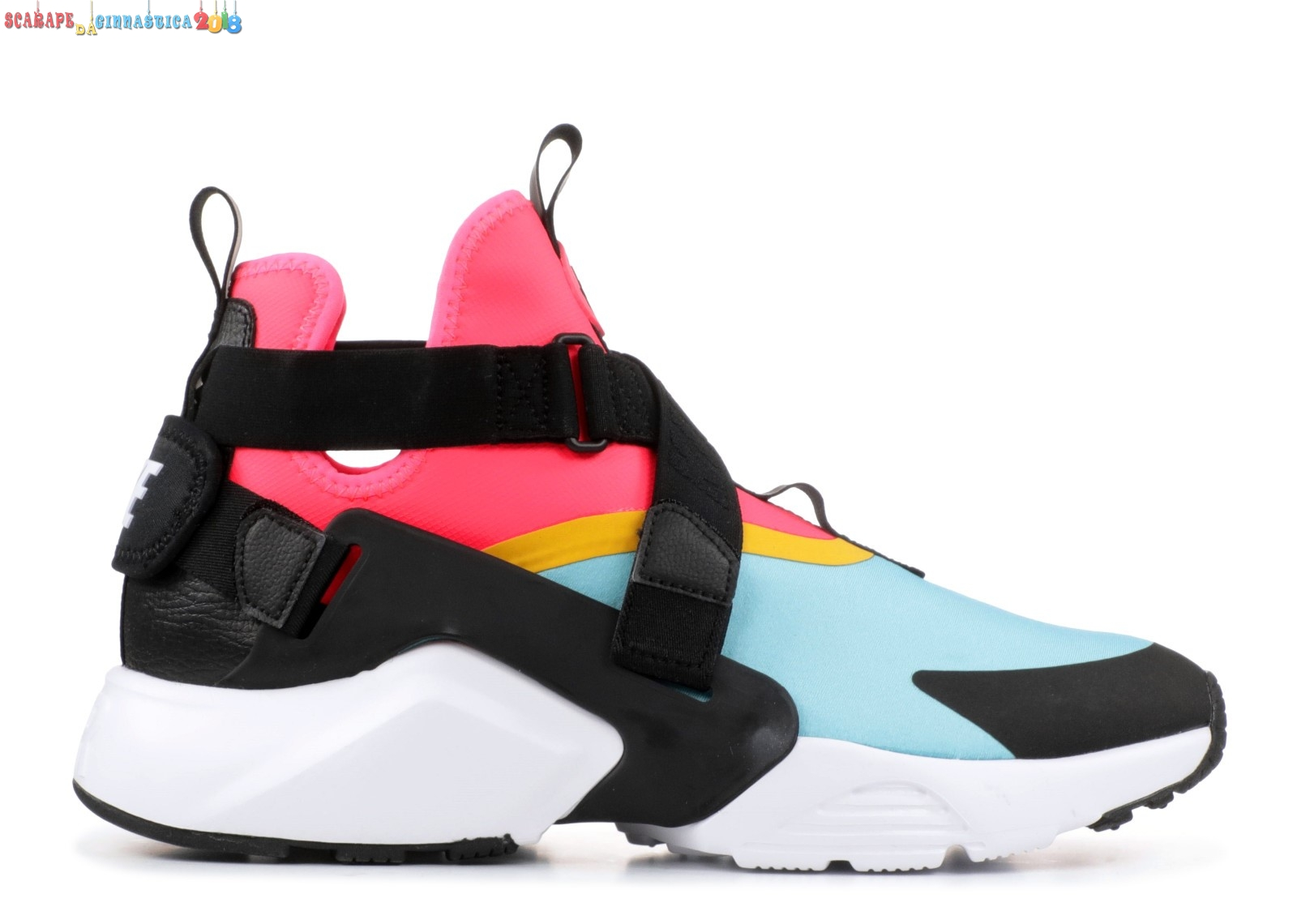 "Scarpa da basket - Nike Air Huarache Run ""City"" Nero Rosa Blu (ah6787-400) - Donna - Scarpe da basket"