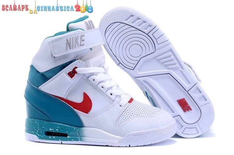 Scarpa da basket - Nike Air Revolution Sky High Wedge Sneakers Bianca Blu Rosso - Donna Scarpe sportive