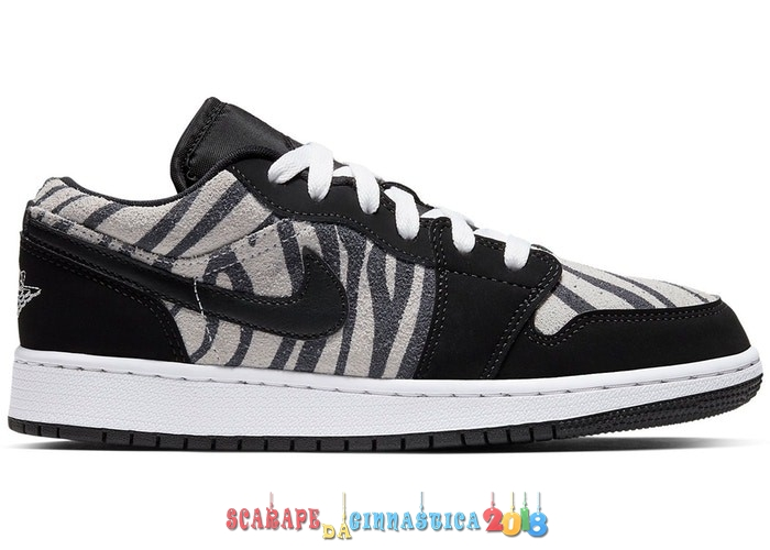 "Buy Air Jordan 1 Low (GS) ""Zebra"" Nero Bianca (553560-057) - SCARPE BASKET"