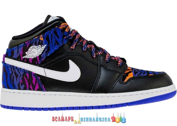 "Replica Air Jordan 1 Mid (GS) ""Multi Color Tiger Stripe"" Nero (AV5174-005) - SCARPE BASKET"