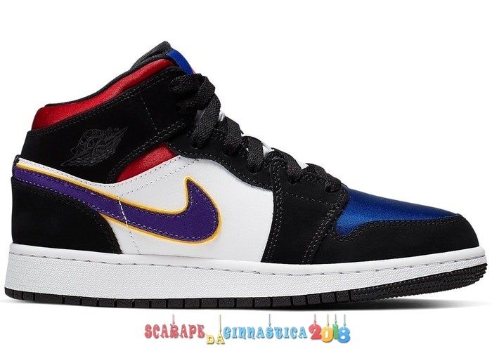 "Scarpa da basket - Air Jordan 1 Mid (GS) ""Lakers"" Top 3 Nero Porpora (BQ6931-005) - Scarpe da basket"