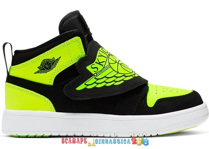 Scarpa da basket - Sky Air Jordan 1 (PS) Nero Volt (BQ7197-007) Replica
