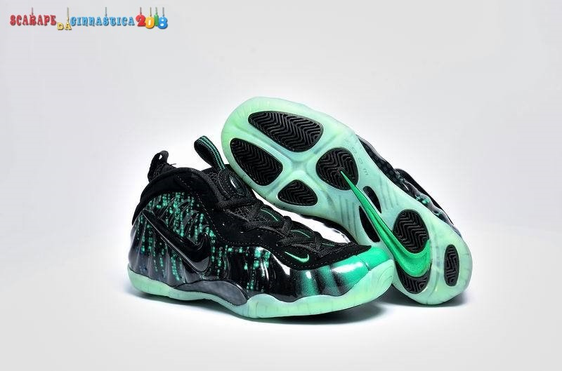 Replica Nike Air Foamposite Nero Verde - Donna - SCARPE BASKET